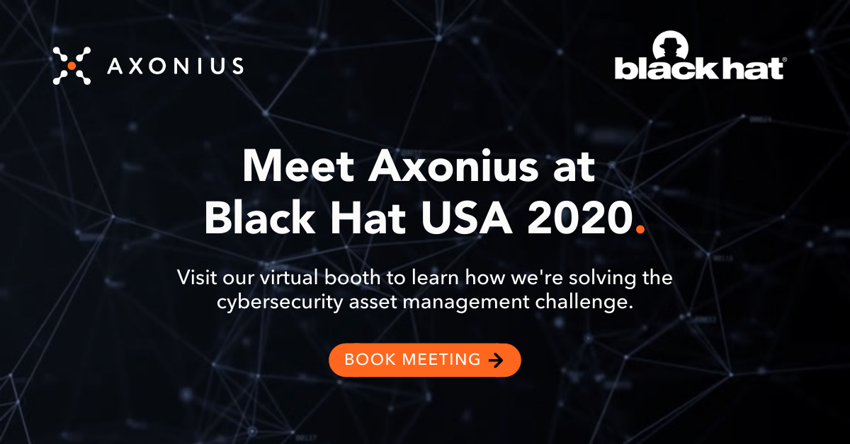 Social Graphic - Black Hat 2020 - Static Lines - BHUSA2020 Meet Axonius CAM Challenge - Book Meeting CTA