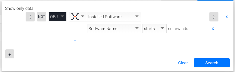 installed softare contains solarwinds